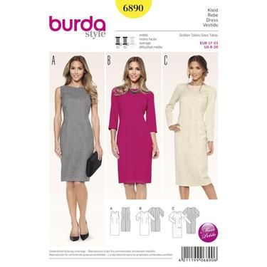 Burda 6890 Women's Petite Size Dress  8 - 20