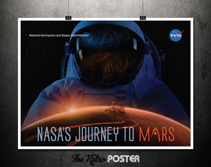 NASA - Journey To Mars - Astronaut Helmet, Mars Rover, NASA Poster, Mars Poster, Space Print, Space Art, Mars Print, Space Travel Poster by TheRetroPoster on Etsy