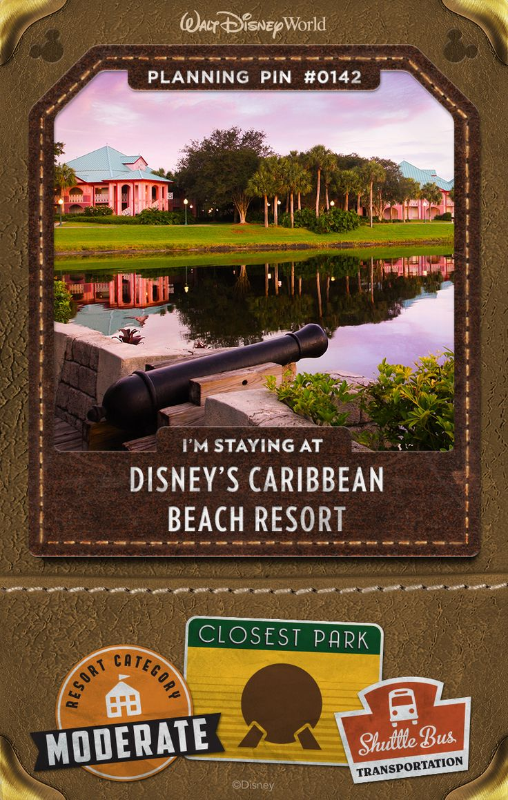 "Walt Disney World Planning Pins: A tropical paradise built around 45-acre Barefoot Bay, this Resort hotel brings the Islands to you with swaying palm trees, white-sand beaches and colonial architecture. Six villages—Trinidad North, Trinidad South, Martinique, Barbados, Aruba and Jamaica—host colorful Guest rooms, some pirate-themed! ""Island-hop"" as you explore 200 lushly landscaped acres, or simply enjoy lazy days soaking up the sun in a hammock."