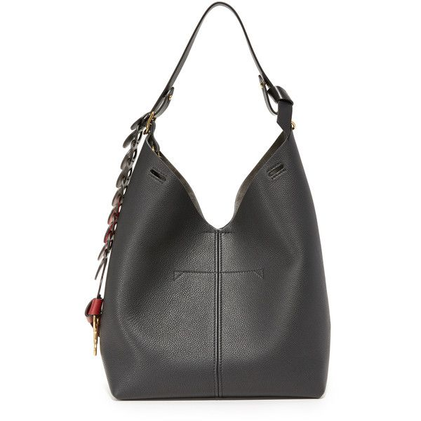 Anya Hindmarch Bucket Bag (5.365 BRL) ❤ liked on Polyvore featuring bags, handbags, shoulder bags, black, shoulder strap handbags, bucket bag, circle handbags, anya hindmarch handbags and genuine leather purse
