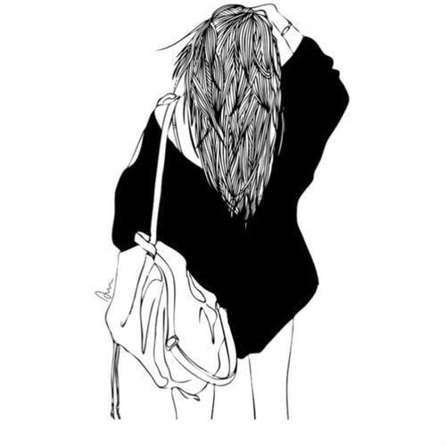 drawing, outlines, tumblr, girl, art