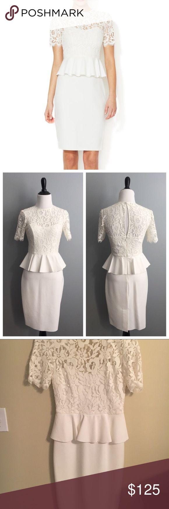 Jill Jill Stuart - white peplum dress; size 2 This gorgeous dress is perfect for a wedding shower or bachelorette party!  It's never been worn, tags still on. Jill Stuart Dresses Midi