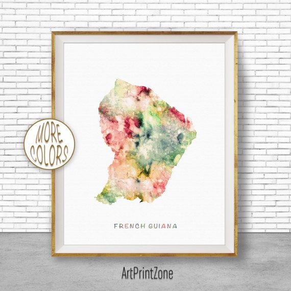 French Guiana Map, Office Art Print, Watercolor Map, Map Print, Map Art, Map Artwork, Office Decorations, Country Map, Art Print Zone #MapArt #MapArtwork #WatercolorMap #OfficeArtPrint #OfficeDecorations