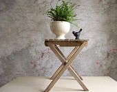 Folding Wood Stool , Vintage Wooden Slat Stool , Portable Wood Camp Seat , Fold Up Bench , Rustic Plant Stand , Cabin Decor