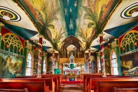 Tiny church in Captain Cook, Hawai`i whose interior was hand-painted by Father John Velge in 1899.