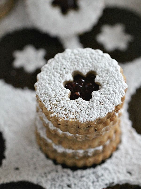 Eggless Walnut Raspberry Linzer Cookies - Peas and Peonies