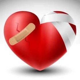 Zlomené srdce s bandáží — Stock ilustrace