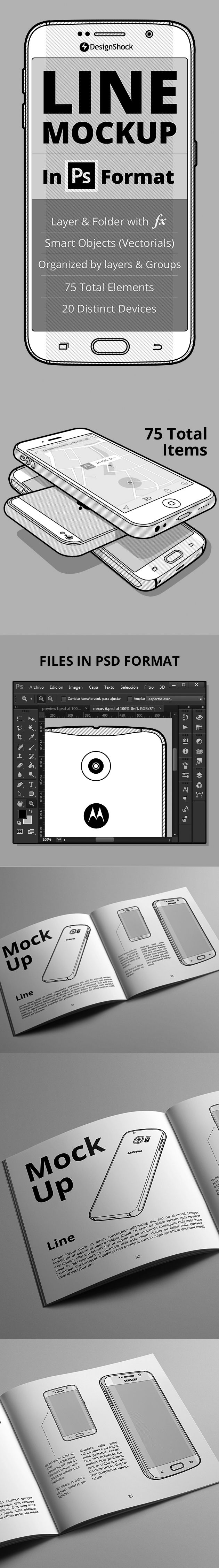 Mobile Mockup PSD: 75 Items, Line Style.