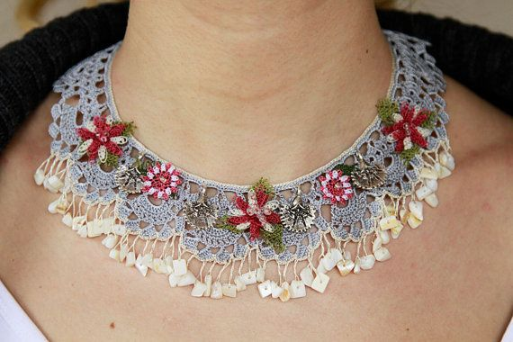 Turkish needle lace necklace (Turkish Oya)