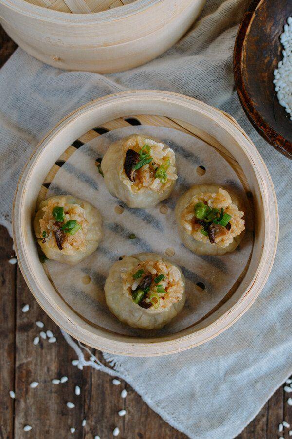 Sticky Rice Mushroom Shumai w/ Homemade Wrappers (Vegan