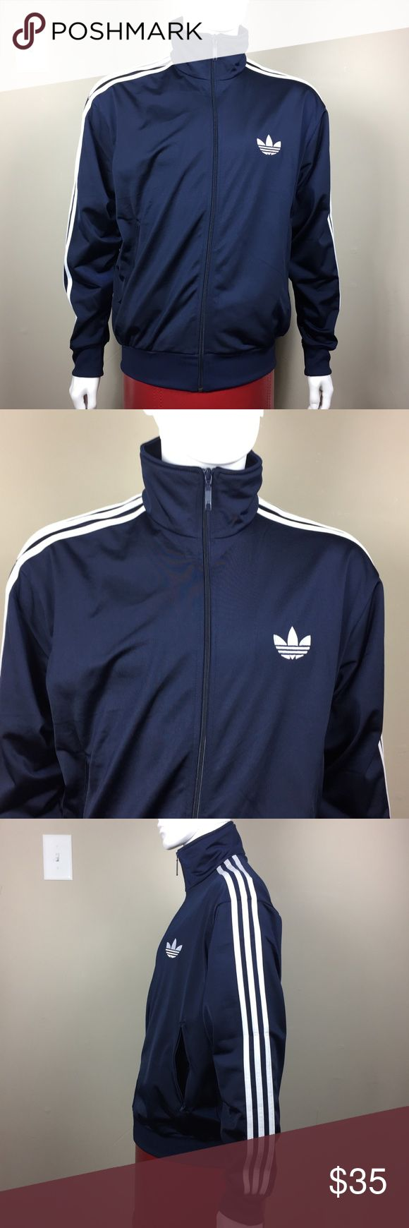Men's large adidas jacket navy blue & white stripe This is an authentic adidas jacket. Men's size large. It is made of 100% polyester and is in perfect condition.!l it is a navy blue color with a white adidas logo on the chest, and white stripes going down the arms. adidas Jackets & Coats Performance Jackets