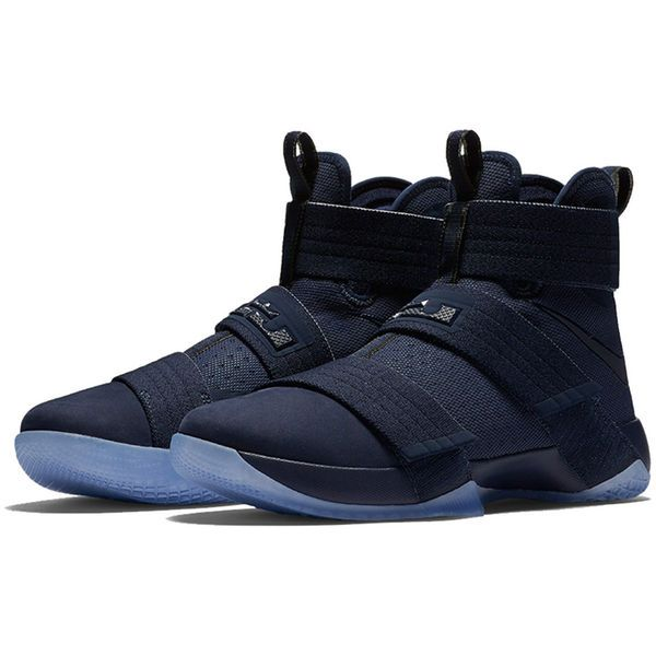 Men's Nike Navy/Light Blue LeBron Soldier 10 SFG Basketball Shoes