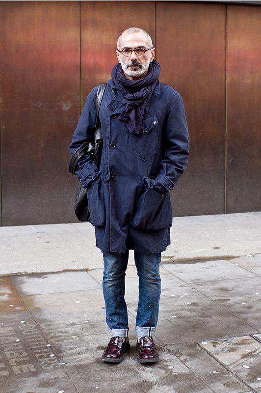 Blue on Blue Jeans, Urban Street Style, Men's Fall Winter Fashion.