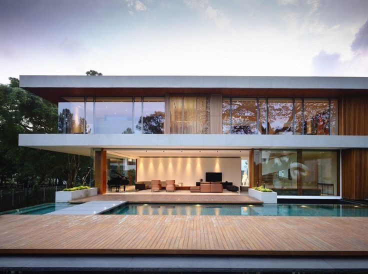 Architecture:Splendid Wood Deck Floor On Swimming Pool And Grey Stone Bridge With Brown Long Sofa And Black Ottoman With Black Piano On Polished Porcelain Tiles Floor And Glass Windows On Two Level Resident Design With Tree For Eco Friendly House Outstanding Sparkling Singapore Residence: 65BTP-House