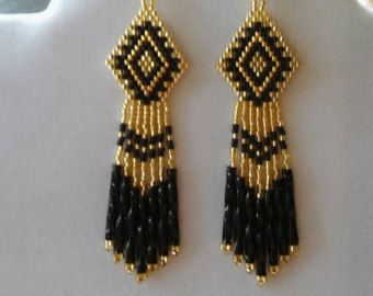 Native American Style Beaded Purple Earrings by BeadedCreationsetc
