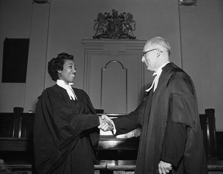 Violet King Henry (1929--) graduated in Law, University of Alberta in 1954  and was admitted to the Alberta Bar. She was the first black person to graduate law in Alberta and to be admitted to the Alberta Bar. She was also the first black female lawyer in Canada. She moved to the U.S. in 1963. In 1976 Violet was appointed Executive Director of the National Council of YMCA's Organizational Development Group. She was the first woman named to a senior management position with the American YMCA.