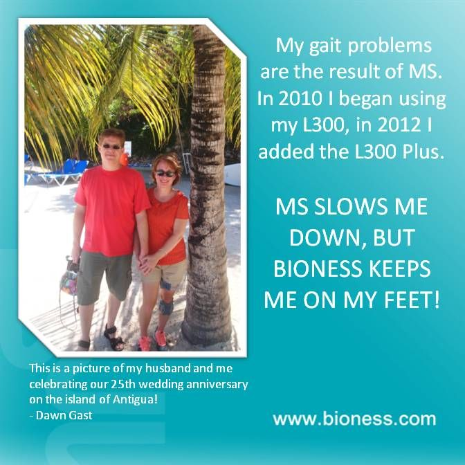 """""""MS SLOWS ME DOWN, BUT BIONESS KEEPS ME ON MY FEET!""""   Dawn Gast and her husband celebrated their 25th Anniversary in beautiful Antigua!  Want to learn how Bioness can keep you on YOUR feet, too? Call us at 800.211.9136 Option 2 or visit http://www.bioness.com/bioness.php  """"My gait problems are the result of MS. In 2010 I began using my L300, in 2012 I added the L300 Plus. MS SLOWS ME DOWN, BUT BIONESS KEEPS ME ON MY FEET!"""""""