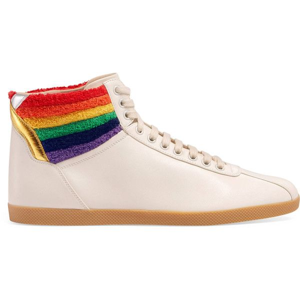 Gucci High-Top Sneaker With Rainbow (£485) ❤ liked on Polyvore featuring men's fashion, men's shoes, men's sneakers, gucci, shoes, white, mens white leather sneakers, mens metallic gold sneakers, mens leather high top shoes and mens leather shoes