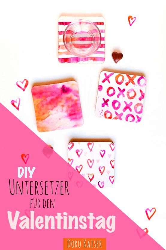 DIY Idee Zum Valentinstag | Bemalte Untersetzer Aus Kork Selber Machen |  Verziert Mit Mustern,