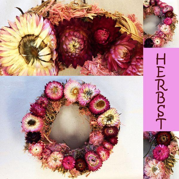 Sommer - Türkranz in rosa - Strohblumenkranz - ein Designerstück von…