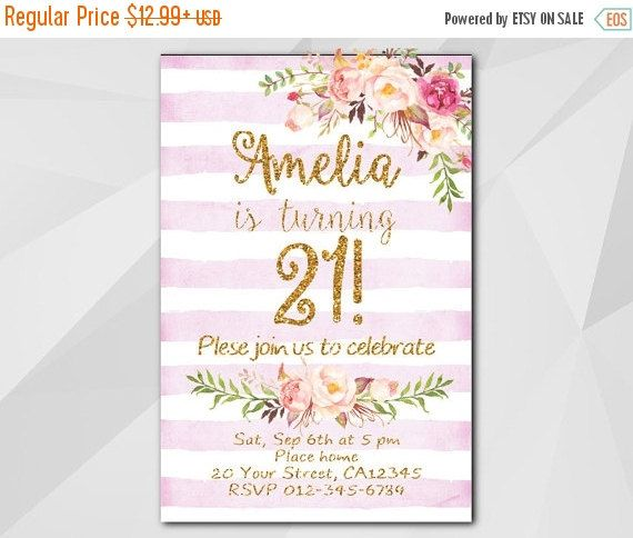 21st Watercolor Fuchsia Stripe/Gold Birthday Invitation by Digi Invites https://www.etsy.com/shop/DigiInvites/       **Text can be changed for any occasion  **This listing is for a customized printable invitation in digital format - I customize it - You print it!  **File Type: High Resolution 300 DPI - JPG or PDF – 4x6 or 5x7   **All wording can be changed and added   **No printed materials will be shipped. - Files are delivered electronically through Etsy convo or email.  **NON-editable…
