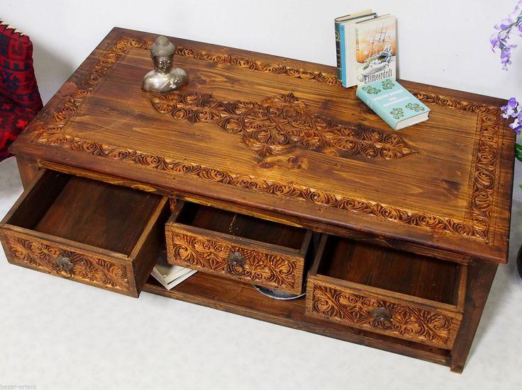 135x70cm Kolonialstil Wohnzimmertisch Tischtruhe Tisch Couchtisch Schubladen 16B