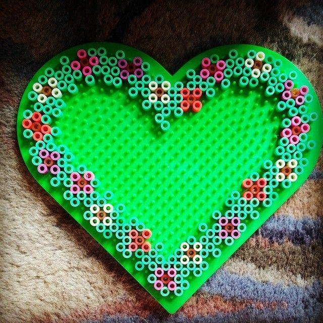 Floral heart frame perler beads by rachel_blake_9