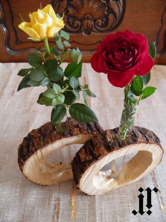 Set of 2 original design rustic wooden flower vases