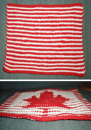If you've never done shadow knitting, this is a simple project with amazing results. Straight on it looks like stockinette stitch, but angle down… whoa!  Here's a link to the free pattern from Ravelry! http://www.ravelry.com/patterns/library/illusion-maple-leaf-dish-cloth