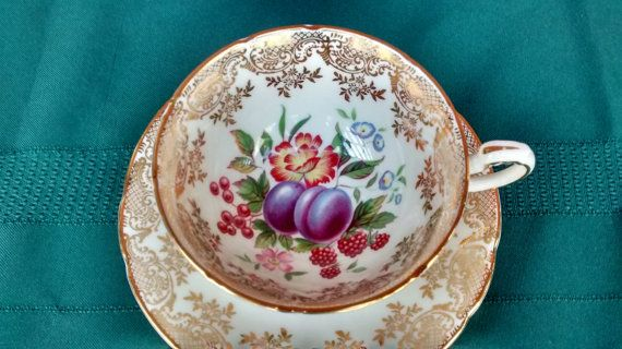 PARAGON Footed Tea Cup and Saucer Set  FRUIT by TheGlassMunkey