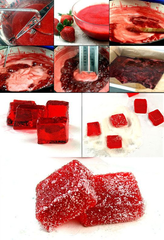 Fresh Strawberry (or Blackberry or Raspberry) Jelliy Candies (Pate de Fruits)!  Only 4 Ingredients!