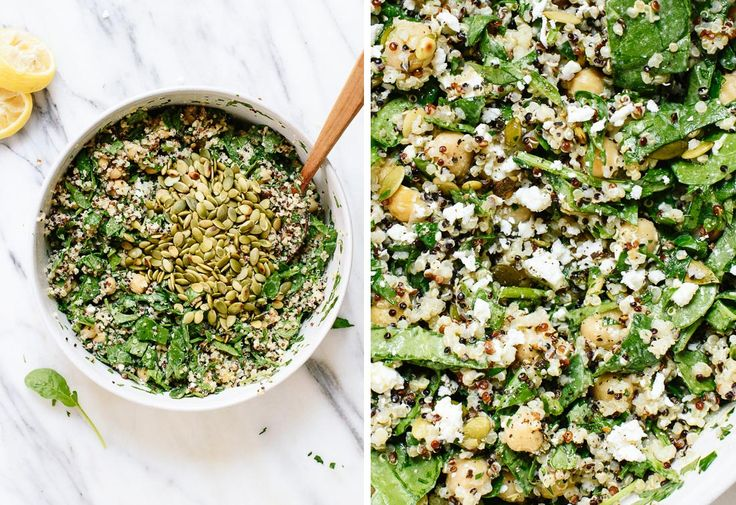spinach quinoa chickpea salad with herbs (chickpeas, parsley, cilantro, fat free feta cheese) | cookie and kate