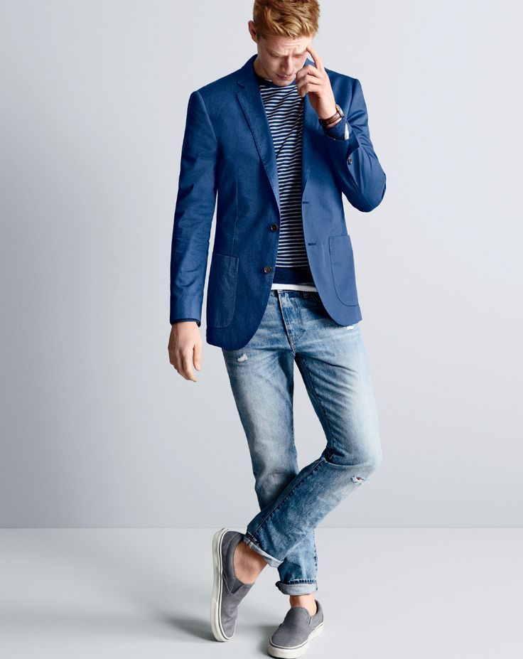J.Crew men's Ludlow blazer in Italian cotton, lightweight Italian cashmere crewneck sweater in stripe, 484 jean in Tobias wash, Mougin & Piquard™ chronovintage watch and Vans® for J.Crew washed canvas classic slip-on sneakers.