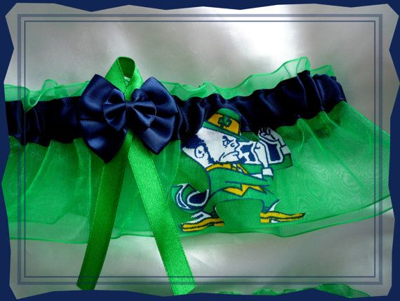 Green And Navy Double Bow Keepsake Garter