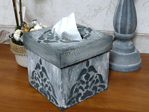 #diy #tissueholder #stoneeffect #stencil #3d #pentart