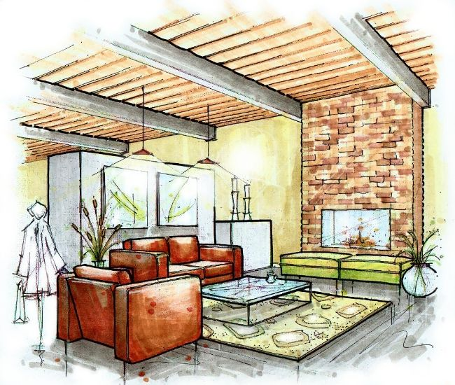 Interior Design Sketches Living Room 181 best hand rendered interiors images on pinterest | interior