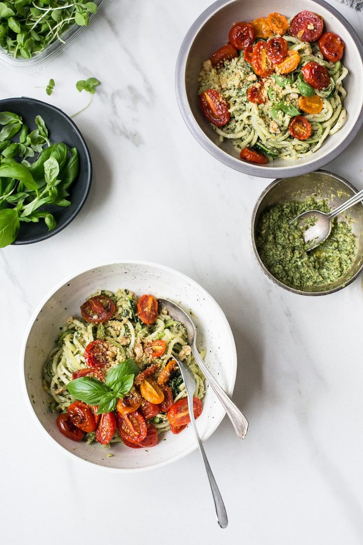 Zucchini Noodles with Basil Pesto, Roasted Cherry Tomatoes & Vegan Walnut Parmesan by The Green Life