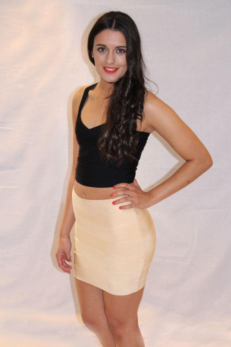MIDNIGHT MISSION BLACK CROP TOP & NUDE SHIMMER SKIRT Available at www.emilylaine.com.au