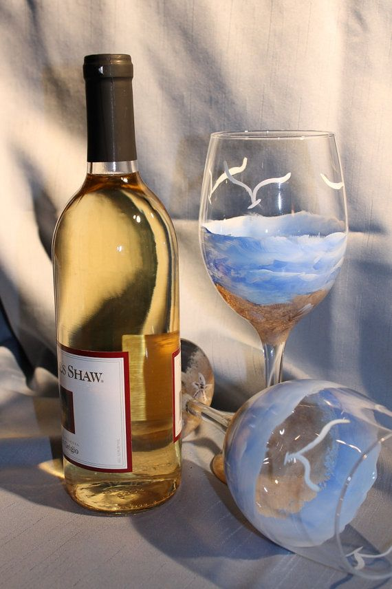 Hand Painted Wine Glasses Set of 2 Beach by SilkEleganceFlorals