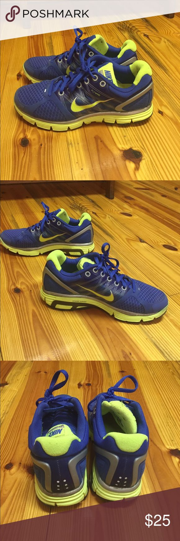 Nike lunarglide 2 running shoes Bright royal blue with high lighter green/yellow detail. Barely worn. Great condition Nike Shoes Athletic Shoes