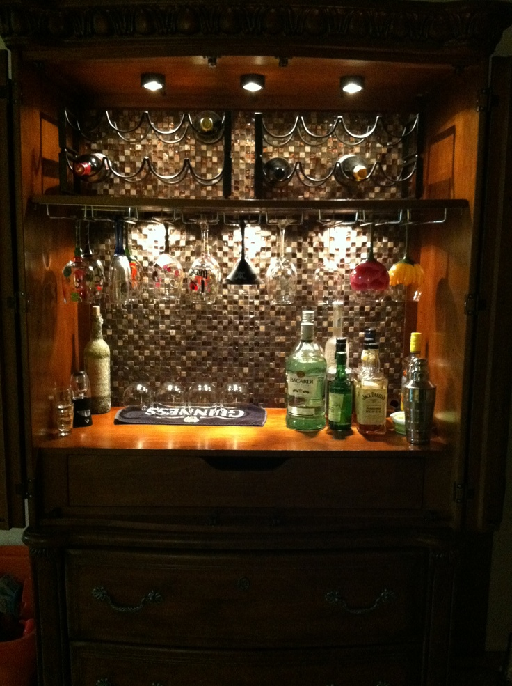 Converted my armoire into a mini bar i love this man for How to build a mini bar cabinet