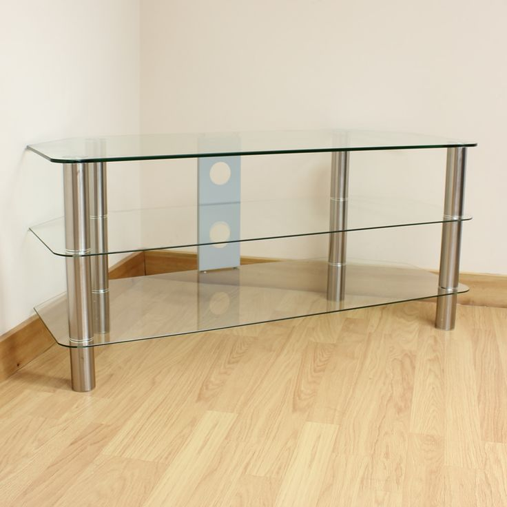 Hartleys Large Clear Glass 3 Tier LED/LCD/Plasma TV Stand/Unit/Shelf Up to 42