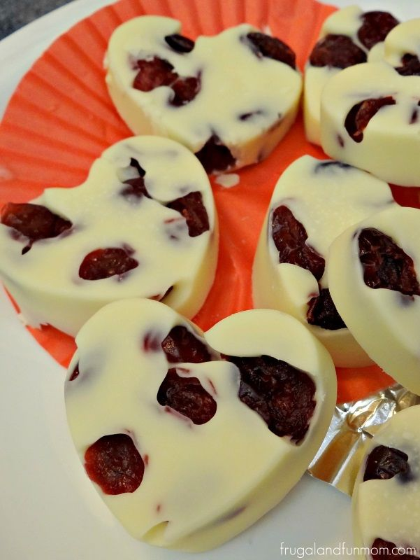 Homemade White Chocolate Covered Dried Cranberries! An Easy Heart Shaped Candy Dessert!