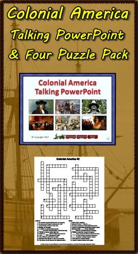 Turn down the lights and turn up the volume for the Colonial America Talking PowerPoint! This slideshow highlights 48 people, events & interesting facts. Each slide is narrated so students can progress through the presentation in a computer lab setting. Ideal for introducing topics children can select for further study. Also included are two crossword puzzles and two word searches basic upon facts found in the presentation. Answer sheets are included. Enjoy! ($)