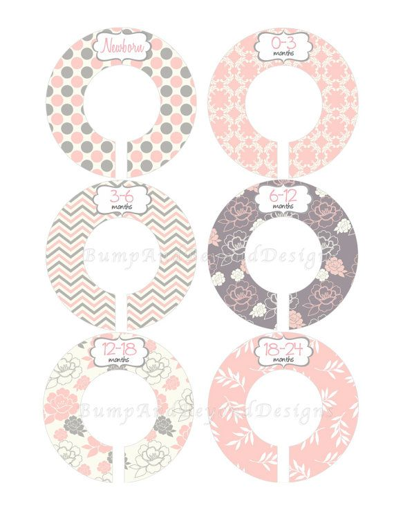 Custom Baby Closet Dividers Girl Pink Grey Floral Nursery Closet Dividers Baby Shower Gift Baby Clothes Organizers Baby 019 on Etsy, $9.00