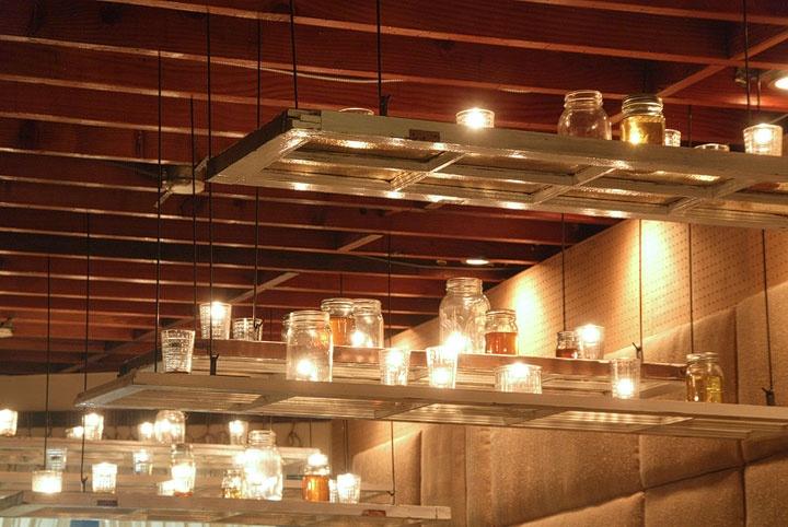 "Window panes and mason jar ""chandelier"" lighting."