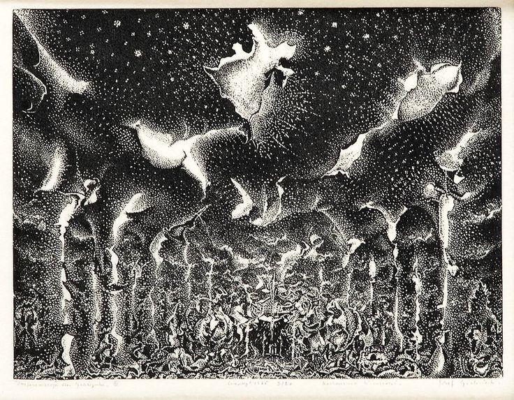 Józef Gielniak (1932 Derain - 1972 sanatorium Bukowiec) Improwizacja dla Grażynki III, 1965 r. linoryt/papier 16,2 x 21 cm (w świetle passe-partout) sygn. i dat. ołówkiem u dołu: 'Improwizacja dla Grażynki III linoryt 1965 2/20 Kochanemu Wicusiowi Józef Gielniak'