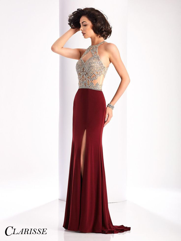 2017 Sexy Fitted Clarisse Prom Dress Style 3184. Feel sexy in this fitted jersey dress with a halter neckline, gorgeous sparkly crystals over sheer nude mesh and a side slit. Get yours today from a Clarisse retailer! Click through to learn more! COLOR: Forest Green, Marsala, Black SIZE: 00-16