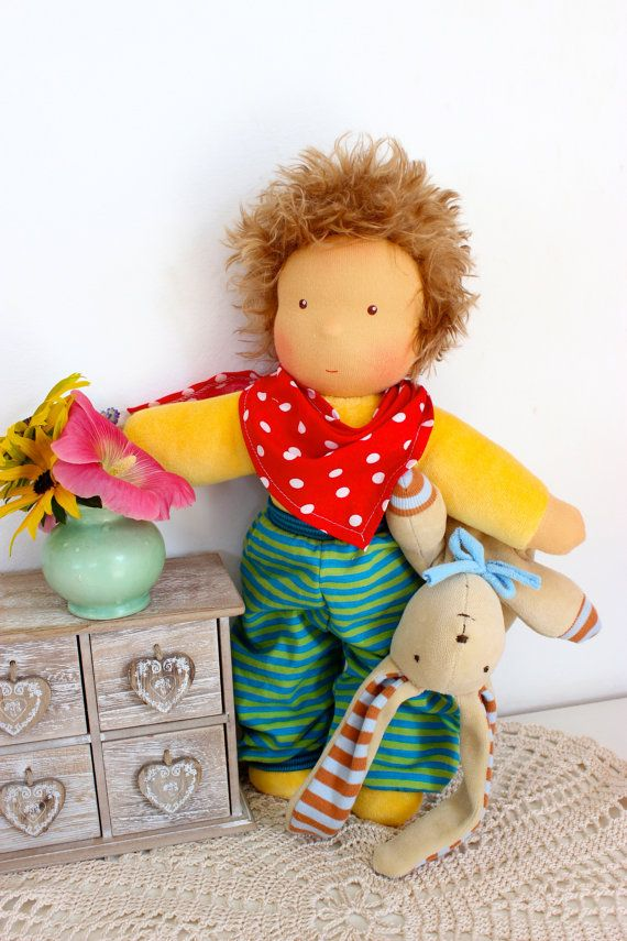 Hannes cuddle doll 13 inch little boy soft doll by JuniKate (candidate for Asa, $70)