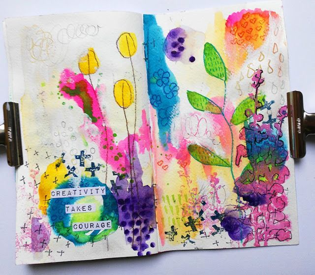 Mixed Media Thoughs 11 Watercolor Art Journal Page Art